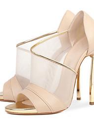Миндальный-Для женщин-Свадьба Для прогулок Для праздника Повседневный Для вечеринки / ужина-Овчина Тюль-На шпильке-Удобная обувь