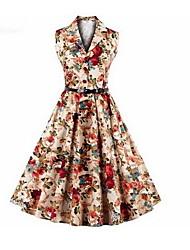 Balançoire Robe Femme Grandes Tailles simple,Fleur Col de Chemise Mi-long Sans Manches Coton Eté Taille Normale Non Elastique Moyen