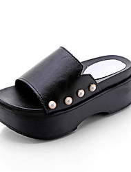 Mulheres sandálias verão conforto pu outdoor walking rhinestone preto branco