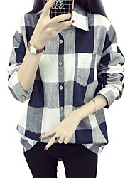 Women's Simple Blouse,Solid Color Block Check Shirt Collar Long Sleeve Cotton