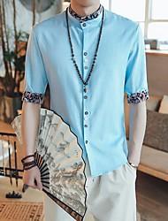 Masculino Camiseta Casual SimplesSólido Linho Colarinho Chinês Meia Manga