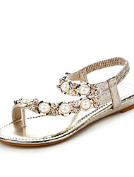 Women's Sandals Spring Comfort PU Casual Silver Black Gold