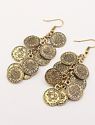Drop Earrings Euramerican Fashion Vintage Alloy Round Coins Tassel Bronze Jewelry For Party 1 Pair