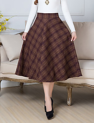 Women's Midi Skirts A Line Mixed Color Print