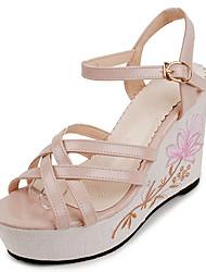 Women's Sandals Summer Comfort PU Outdoor Wedge Heel Buckle Ribbon Tie Blushing Pink Yellow Walking