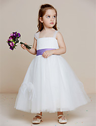 A-line Ankle-length Flower Girl Dress - Satin Tulle Straps with Draping Feathers / Fur Sash / Ribbon