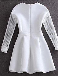 Women's Party Simple A Line Dress,Solid Round Neck Midi Long Sleeve Cotton Spring Summer Low Rise Micro-elastic Medium