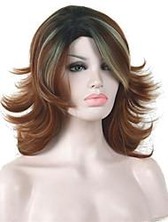 Medium Length Shaggy Layered Light Auburn Ombre Full Synthetic Wig Wigs
