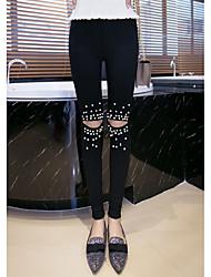 Femme Solide Effiloché Legging