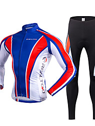 Cycling Jersey with Tights Men's Long Sleeves Bike Clothing Suits Thermal / Warm Quick Dry Fleece Lining Ultraviolet Resistant Front