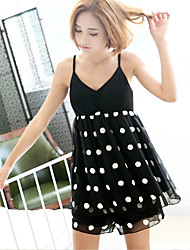 Vêtements de nuit pour femme set v neck cordon patchwork polka dots sweet home suit