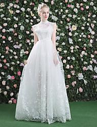 A-ligne robe de mariée en tulle avec dentelle