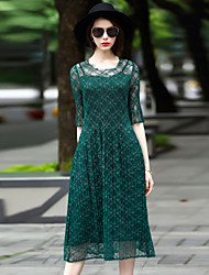 BLUEOXY Women's Going out Casual/Daily Party Loose Dress,Solid Round Neck Midi ½ Length Sleeve Polyester Spring Summer Low Rise Micro-elastic