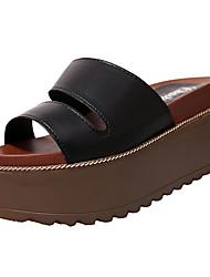 Feminino-Sandálias-Sapatos de Berço-Salto Grosso--Couro Ecológico-Ar-Livre