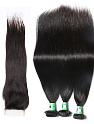 Natural Color Hair Weaves Peruvian Texture Straight 18 Months 4 Pieces hair weaves