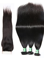 Cabelo Humano Ondulado Cabelo Peruviano Retas 18 Meses 4 Peças tece cabelo