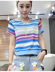 Tee-shirt Femme,Rayé Sortie simple Manches Courtes Col en V Coton