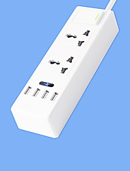 Super Speed ​​Power Strip avec cordon 2 pieds intelligent 4 usb adaptateur secteur 220v 10a us plug