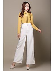 Femme Taille Haute Micro-élastique Chino Pantalon,Droite Ample Couleur Pleine