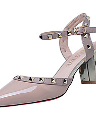 Women's Sandals Gladiator PU Spring Summer Casual Dress Gladiator Rivet Buckle Chunky Heel White Black Ruby Blushing Pink Almond3in-3