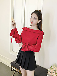 Damen Solide Einfach Lässig/Alltäglich T-shirt,Bateau Langarm Baumwolle