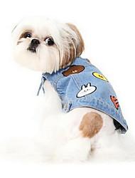 Собаки Жилет Одежда для собак Лето Мультфильмы Милые Мода На каждый день Светло-синий