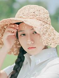 Для женщин На каждый день Соломенная шляпа,Лето Соломка Однотонный