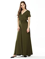 Gaine Robe Femme Grandes Tailles / Décontracté / Quotidien simple / Chic de Rue,Couleur Pleine Col en V Maxi Manches CourtesBleu / Rouge
