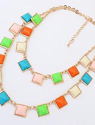 Mujer Chica Collares Declaración Strands Collares Collares en capas Joyas Forma Cuadrada Resina LegierungDiseño Básico Diseño Único