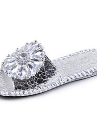 Women's Sandals Comfort PU Spring Summer Casual Dress Comfort Rhinestone Flat Heel Gold Sliver Flat