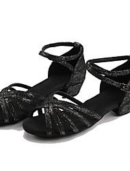 Customizable Women's Dance Shoes Satin Latin Sneakers Low Heel Practice