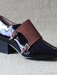 Women's Boots Comfort Cowhide Fall Winter Casual Block Heel Black 1in-1 3/4in