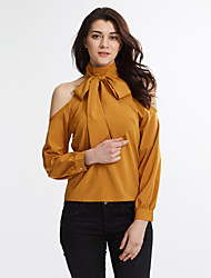 Women's Off The Shoulder Casual All Match Shirt Solid Bow Turtleneck Leakage Shoulder Long Sleeve