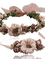 Femme Set de Bijoux Bijoux Fleur Tissu Forme de Fleur 1 Bracelet 1 Bijou de Cheveux Pour Bikini Plage Cadeaux de mariage