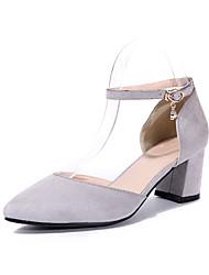 Women's Heels Summer Club Shoes Cashmere Dress Casual Chunky Heel Pink Light Grey Black