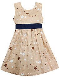 Girls Summer Fashion Dress Khaki Stars Dresses Cute Party Princess Kids Clothing