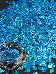 1 Bottle New Fashion Lovely Sky Blue Design Nail Art Rhombus Laser Stripe Thin Slice DIY Beauty Glitter Dazzling Paillette Decoration LW03