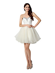 Cocktail Party Dress - Short A-line Sweetheart Short / Mini Organza with Crystal Detailing Sequins