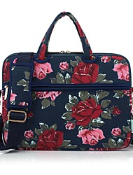 13.3 14.1 15.6 inch Peony Pattern Laptop Shoulder Bag with Strap Hand Bag for Macbook/Surface/Dell/HP/Samsung/Sony etc