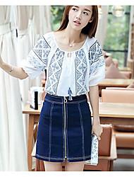Dames Eenvoudig T-shirt,Uitgaan Bloemen Ronde hals Korte mouw Polyester