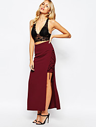 Women's Lace up High Rise Midi Skirts,Sexy Bodycon Solid