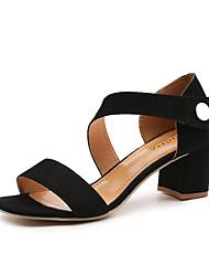 Women's Sandals Comfort Suede Summer Casual Walking Comfort Magic Tape Low Heel Black Almond 3in-3 3/4in