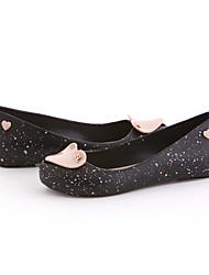 Damen-Flache Schuhe-Lässig-PU-Blockabsatz-Fersenriemen-Schwarz Violett