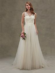 A-line Wedding Dress See-Through Sweep / Brush Train V-neck Lace Tulle with Lace Sash / Ribbon