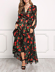 Women's Going out Loose Dress,Floral V Neck Maxi Long Sleeve Polyester Summer Mid Rise Micro-elastic Medium