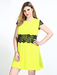 Really Love Women's Plus Size Casual/Daily Party Sexy Vintage Cute A Line Lace T Shirt Dress,Color Block Round Neck Knee-length Short SleeveCotton