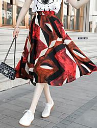 Femme Taille Normale Midi Jupes,Trapèze Couleur Pleine