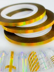 30pcs / box 3mm fashion laser gold nail art scintillement en feuille striping tape line sticker arc-en-ciel décoration étincelante