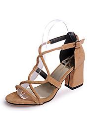 Damen-Sandalen-Büro Kleid-Stoff-Blockabsatz-Komfort-