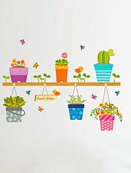 ботанический Мультипликация Цветы Наклейки Простые наклейки Декоративные наклейки на стены,Винил материал Украшение дома Наклейка на стену
